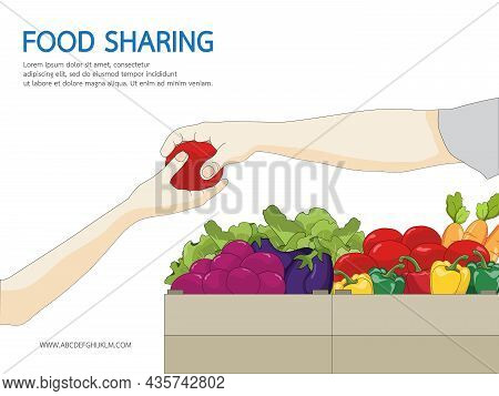 Food Sharing Charity Concept. People Donate Food Giving Homeless And Immigrant People With Humanitar