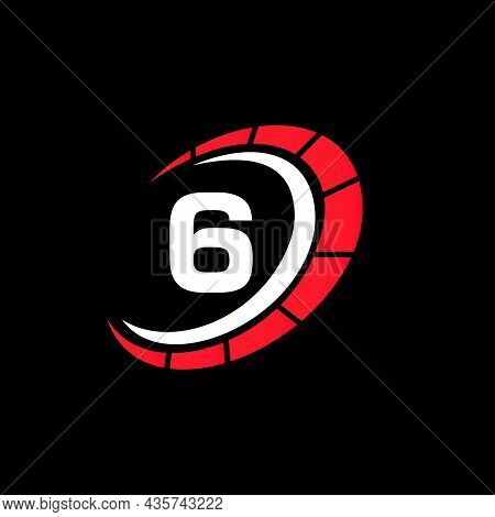 Sport Car Logo On Letter 6 Speed Concept. Car Automotive Template For Cars Service, Cars Repair With