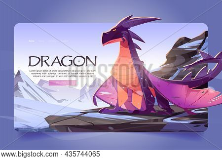 Dragon At Winter Mountains Cartoon Landing Page. Magic Character Sitting On Rock At Snowy Landscape