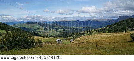 Wonderful Panoramic View: Idyllic Alp Scenery - The Famous Alp De Siusi - Seiseralm In South Tyrol.