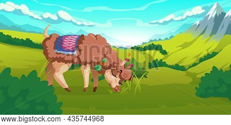 Cute Alpaca Grazes On Meadows In Peruvian Mountains. Vector Cartoon Illustration Of Andes Landscape