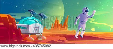 Astronaut On Alien Planet Landscape With Scientific Laboratory. Cosmonaut In Suit And Helmet In Far