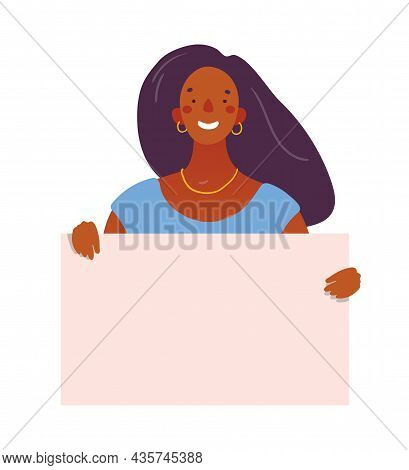 Black Woman Holds A Board With Place For Text. Flat Vector Illustration With Copy Space. Cute Girl W
