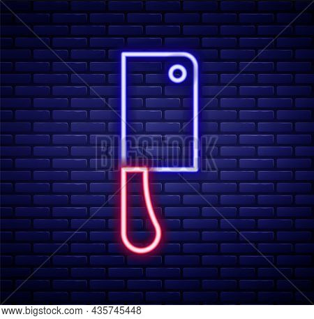 Glowing Neon Line Meat Chopper Icon Isolated On Brick Wall Background. Kitchen Knife For Meat. Butch
