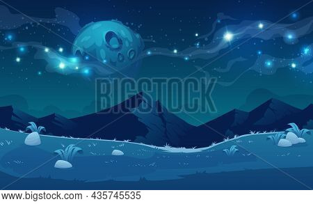 Night Landscape With Mountains And Full Moon With Stars Glowing Over Rocky Peaks. Mysterious Twiligh