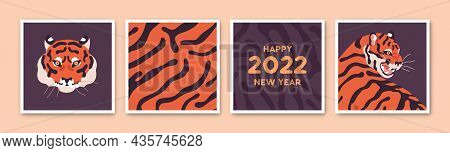 Square Cards Set For Chinese 2022 New Year. Oriental Postcard Designs With Asian Bengal Tiger Of Eas