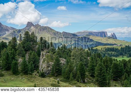 Wonderful View: The Distinctive Forcella Denti Di Terrarossa And Famous Dolomite Mountain: Schlern -