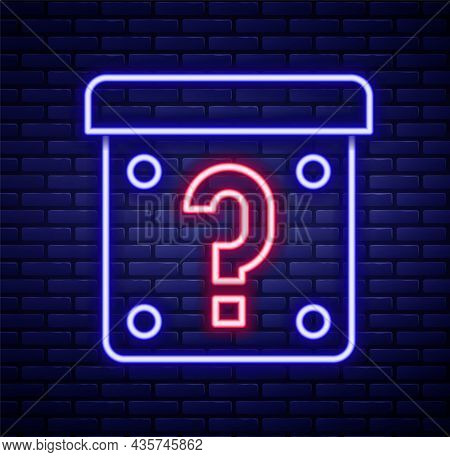 Glowing Neon Line Mystery Box Or Random Loot Box For Games Icon Isolated On Brick Wall Background. Q