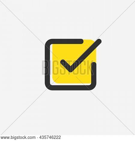 Check List Button Icon. Check Mark In Square Box. Correct Symbol. Stock Vector Illustration Isolated