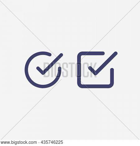 Check List Button Icon. Check Mark In Square And Round Box. Correct Symbol. Stock Vector Illustratio