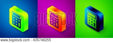 Isometric Calculator Icon Isolated On Blue, Purple And Green Background. Accounting Symbol. Business