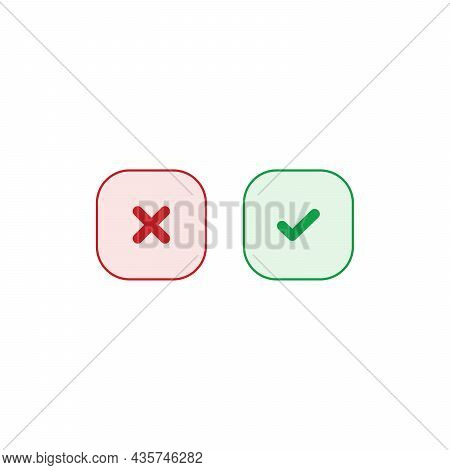 Tick And Cross Buttons. Green Checkmark Ok And Red X Icons Vector. Square Symbols Yes And No Button