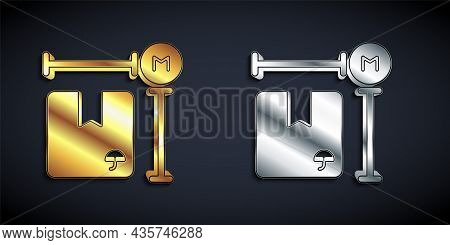 Gold And Silver Carton Cardboard Box Measurement Icon Isolated On Black Background. Box, Package, Pa