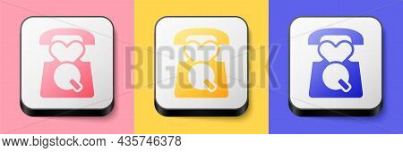 Isometric Telephone With Emergency Call 911 Icon Isolated On Pink, Yellow And Blue Background. Polic