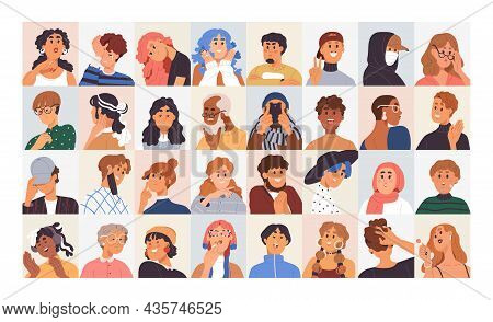 People Avatars Set. Modern Head Portraits Of Diverse Men, Women, Girl And Boy Faces With Expressive