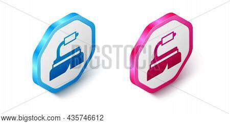 Isometric Brush For Cleaning Icon Isolated On White Background. Cleaning Service Concept. Hexagon Bu