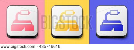 Isometric Brush For Cleaning Icon Isolated On Pink, Yellow And Blue Background. Cleaning Service Con