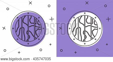 Set Round Wooden Shield Icon Isolated On White And Purple Background. Security, Safety, Protection,