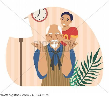 Happy Grandfather Playing With Grandson At Home, Flat Vector Illustration. Grandparent Grandchild Re