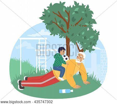 Happy Grandfather Training With Grandson In Park, Vector Illustration. Grandparent Grandchild Relati