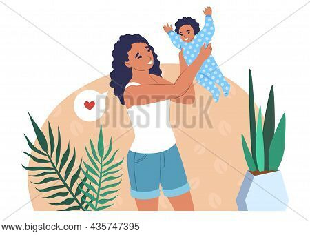 Mother Playing With Baby, Vector Illustration. Parent Child Relationship. Parenting. Happy Motherhoo