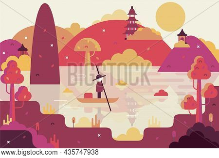 Chinese Landscape With Fisherman And Mountains Background - Vector Cartoon Illustration In Flat Stil