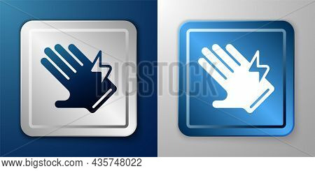 White Electric Glove Icon Isolated On Blue And Grey Background. Safety Gloves, Hand Protection. Silv