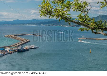 Uljin-eup, South Korea; September 19, 2021: View Of Breakwater And Piers At Entrance To Hupo Port Ta