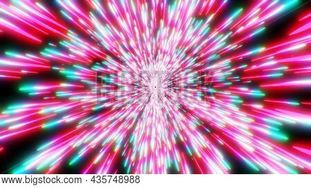 Abstract background neon glow lights, cosmic speed concept, dynamic hyperspace tunel 3D science fiction illustration render.