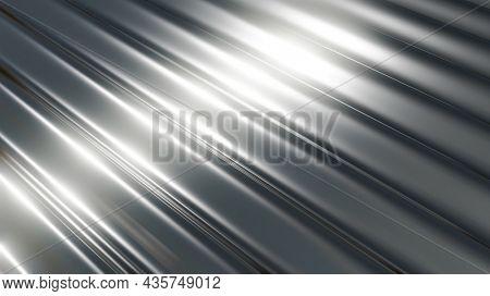 Steel metal texture, interesting waves pattern silver metallic wavy design, 3D render illustration.