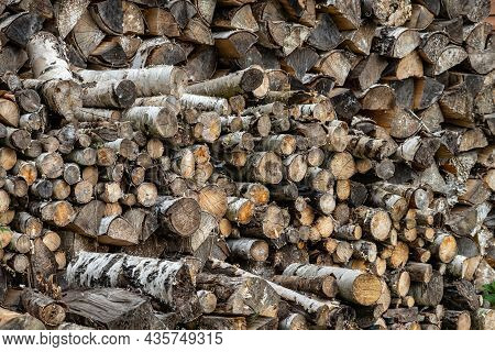 Pile Of Firewood. Preparation Of Firewood For The Winter And Use For Cooking, Firewood Background, S