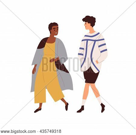 Interracial Couple Of Man And Woman Walking And Talking. Biracial Friends Chatting. Happy People Str