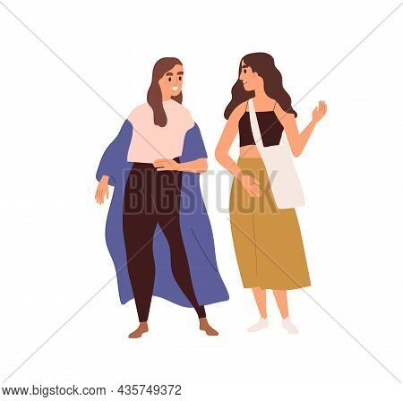 Happy Woman Talking. Female Friends Standing And Chatting. Couple Of Young Girlfriends Meeting And C