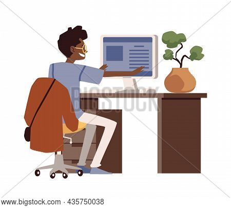 Man Doing Stretch Exercises At Workplace, Flat Vector Illustration Isolated.
