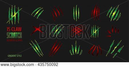 Claw Scratch Gradient Vector Illustration. Set Of Cruel Animal Scratches Horror And Grunge Concept