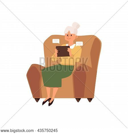 Elderly Woman Sitting At Chair Using Tablet, Flat Vector Illustration.
