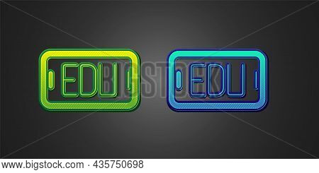 Green And Blue Online Education And Graduation Icon Isolated On Black Background. Online Teacher On