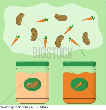 Educational Activity For Children, Sort The Potatoes And  Carrots Into The Appropriate Jars. Logic G