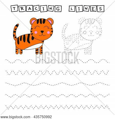 Tracing Lines Game With Funny Tigers. Worksheet For Preschool Kids, Kids Activity Sheet, Printable W