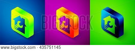 Isometric House Or Home With Wrench Spanner Icon Isolated On Blue, Purple And Green Background. Adju