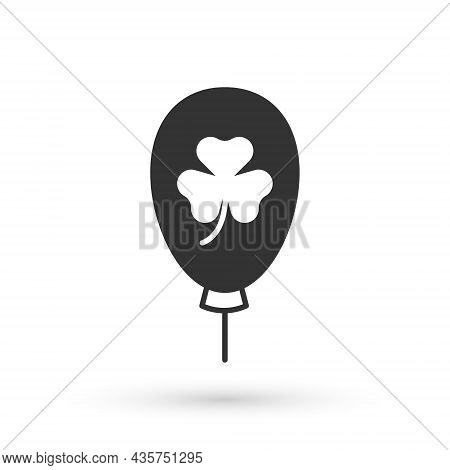 Grey Balloon With Clover Trefoil Leaf Icon Isolated On White Background. Happy Saint Patricks Day. N