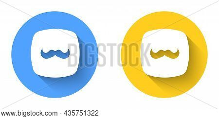 White Mustache Icon Isolated With Long Shadow Background. Barbershop Symbol. Facial Hair Style. Circ