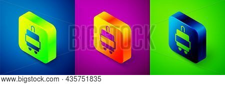 Isometric Suitcase For Travel Icon Isolated On Blue, Purple And Green Background. Traveling Baggage