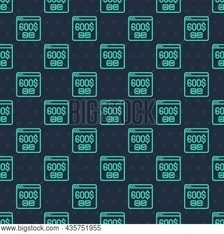 Green Line Monitor With Dollar Icon Isolated Seamless Pattern On Blue Background. Sending Money Arou