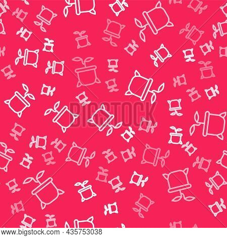 White Line Plant In Pot Icon Isolated Seamless Pattern On Red Background. Plant Growing In A Pot. Po