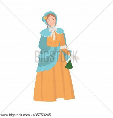 Woman In Historical Costume. Victorian Woman In Fashionable Clothing Cartoon Vector Illustration