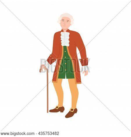Aristocratic Man In Luxury Historical Costume Of 18th Century Cartoon Vector Illustration