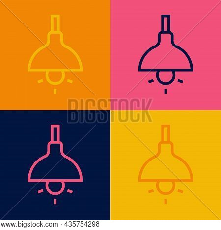 Pop Art Line Lamp Hanging Icon Isolated On Color Background. Ceiling Lamp Light Bulb. Vector
