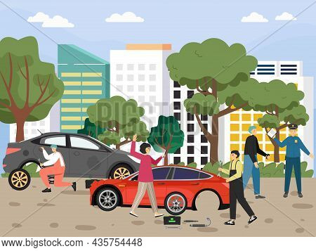 Lady Calling Emergency Roadside Assistance, Car Mechanic Changing Tyre, Flat Vector Illustration. In