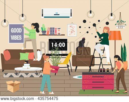 Interior Designer Decorating Living Room, Vector Illustration. Wall Painting, Good Vibes, Houseplant